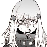 1girl angry bangs clenched_teeth girls_frontline greyscale hair_ornament halftone highres hk416_(girls_frontline) long_hair looking_at_viewer monochrome portrait scowl simple_background solo ssambatea teeth white_background