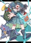 1girl backpack bag bangs blue_eyes blue_footwear blue_hair blue_shirt blue_skirt boots chinchou collared_shirt commentary crossover damenaito electricity flat_cap frilled_shirt_collar frills gen_1_pokemon gen_2_pokemon gen_3_pokemon gen_4_pokemon gen_5_pokemon golduck green_headwear hair_bobbles hair_ornament hat highres holding holding_poke_ball kawashiro_nitori key klink letterboxed looking_at_viewer lotad medium_skirt open_mouth pocket poke_ball poke_ball_(basic) poke_ball_symbol pokemon pokemon_(creature) reaching_out rotom rubber_boots shirt short_hair short_sleeves skirt skirt_set smile standing touhou trait_connection