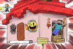 1girl 3boys alex? black_knight_(fire_emblem) commentary_request emphasis_lines fire_emblem house kicdon minecraft multiple_boys one_eye_closed pac-man pac-man_(game) pac-man_eyes steve? super_smash_bros.