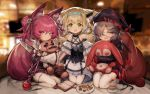 3girls animal_ears arknights blurry blurry_background commentary_request cookie eyepatch food green_eyes heart heart-shaped_pupils highres jell_(jell_y_fish) knife looking_at_viewer multiple_girls object_hug open_mouth pantyhose plate popukar_(arknights) red_eyes redhead seiza shamare_(arknights) sitting suzuran_(arknights) symbol-shaped_pupils tea tears thigh-highs white_legwear