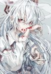 1girl arm_belt arms_up blood blood_on_face blood_splatter bloody_hands cigarette expressionless fujiwara_no_mokou grey_background hair_between_eyes hair_over_eyes hair_ribbon highres holding holding_cigarette long_hair long_sleeves looking_at_viewer red_eyes ribbon safutsuguon shirt silver_hair simple_background smoke smoking solo standing suspenders touhou unbuttoned_sleeves upper_body very_long_hair white_shirt wiping_face