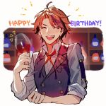 1boy ^_^ ^o^ black_vest buttons closed_eyes collared_shirt cup drink facing_viewer fang happy_birthday highres holding holding_cup holostars male_focus mebaru mole mole_under_eye neck_ribbon open_mouth orange_hair red_neckwear ribbon shirt short_hair smile solo upper_body vest virtual_youtuber white_shirt yukoku_roberu