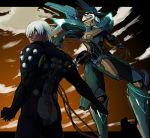 1boy arimi_rio_(baubau) black_bodysuit blue_eyes bodysuit clenched_hand clouds cloudy_sky commentary_request dark_skin dingo_egret glowing hair_over_one_eye jehuty looking_at_viewer male_focus mecha neon_trim orbital_frame outdoors pilot_suit science_fiction sky tube white_hair zone_of_the_enders zone_of_the_enders_2
