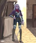 1girl ciov commission dark_elf dungeons_and_dragons elf english_commentary hair_behind_ear hand_on_hip highres holding holding_sword holding_weapon looking_at_viewer original pointy_ears purple_lips purple_skin solo standing sword violet_eyes weapon white_hair