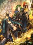 1boy armor armored_boots belt boots cape coin crossed_legs fire_emblem fire_emblem_cipher gem gloves green_eyes green_hair horse kuroba.k lando_(fire_emblem) long_hair low_ponytail official_art sitting solo sparkle sword treasure_chest weapon