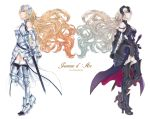 2girls armor blonde_hair blue_eyes character_name copyright_name dual_persona fate/grand_order fate_(series) floating_hair highres jeanne_d'arc_(alter)_(fate) jeanne_d'arc_(fate) jeanne_d'arc_(fate)_(all) long_hair looking_up multiple_girls takeda_yuuko very_long_hair white_background