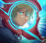1boy backlighting blonde_hair blue_eyes fuwamoko_momen_toufu glowing glowing_eyes highres holding holding_sword holding_weapon looking_at_viewer male_focus monado shulk_(xenoblade) solo sword turtleneck upper_body weapon xenoblade_chronicles xenoblade_chronicles_(series)