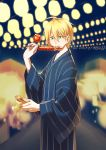 blonde_hair blue_kimono blurry blurry_background candy_apple dango day eating food hair_between_eyes japanese_clothes kimono male_focus night outdoors sorges squid standing summer_festival touken_ranbu wagashi wide_sleeves yamanbagiri_kunihiro