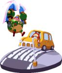 armor car driving goggles goggles_on_head ground_vehicle kirby kirby:_planet_robobot kirby_(series) lowres mecha motor_vehicle no_humans pixel_art road robobot_armor simple_background traffic_light waddle_dee warabin_(suteki_denpun) white_background