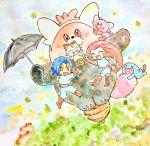 1boy 1girl bewear full_body gen_1_pokemon gen_2_pokemon gen_7_pokemon james_(pokemon) jessie_(pokemon) leaf meowth minmin33r parody pokemon pokemon_(game) pokemon_sm stufful team_rocket tonari_no_totoro umbrella wobbuffet