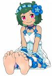 1girl absurdres armband barefoot blue_dress blush child closed_mouth commentary_request dark_skin dress eyebrows eyelashes feet flower green_hair hair_flower hair_ornament head_wreath highres legs looking_at_viewer menla partial_commentary petals pink_eyes pov pov_feet re:zero_kara_hajimeru_isekai_seikatsu short_hair simple_background sitting smile soles solo teasing toes typhon_(re:zero) white_background