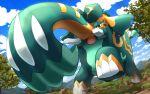 :o black_eyes copperajah day gen_8_pokemon hakuginnosora looking_at_viewer no_humans outdoors pokemon pokemon_(creature) pokemon_(game) pokemon_swsh sky standing tree