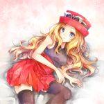 1girl black_legwear blonde_hair blue_eyes breasts collared_shirt eyewear_on_headwear grey_shirt hat high-waist_skirt highres long_hair looking_at_viewer lying medium_breasts miniskirt on_side open_mouth pleated_skirt pokemon pokemon_(game) pokemon_xy red_headwear red_skirt serena_(pokemon) shiny shiny_hair shirt skirt sleeveless sleeveless_shirt solo sunglasses thigh-highs very_long_hair white-framed_eyewear wing_collar yomogi_(black-elf) zettai_ryouiki