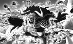 6+boys abs angry arm_tattoo attack beard big_hair blank_eyes bracelet chest chest_tattoo coat commentary day dragon_tail dual_wielding english_commentary eustass_captain_kid facial_hair fisheye franky_shogun giant greyscale helm helmet highres holding holding_sword holding_weapon horns jewelry kaido killer_(one_piece) kinemon looking_at_another male_focus metal monkey_d_luffy monochrome monster_boy multiple_boys muscle one_piece open_mouth outdoors roronoa_zoro sanji sharp_teeth shirtless shorts size_difference snout spiked_bracelet spikes sword tail tattoo teeth tina_fate trafalgar_law v-shaped_eyebrows weapon
