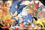 3boys aimf animal_ears avatar_(sonic_forces) black_eyes dated destruction fire furry gloves green_eyes green_footwear green_gloves male_focus multiple_boys multiple_persona red_footwear shoes sneakers sonic sonic_forces sonic_the_hedgehog white_gloves wolf_ears