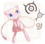 blue_eyes commentary_request full_body gen_1_pokemon gen_2_pokemon looking_at_another mew mythical_pokemon nagakura_(seven_walkers) no_humans pink_skin pokemon pokemon_(creature) tail unown unown_m unown_u unown_y