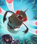 black_eyes bug commentary_request fangs flying gen_4_pokemon gen_6_pokemon grass nagakura_(seven_walkers) no_humans open_mouth pokemon pokemon_(creature) scatterbug wings yanmega