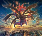 black_sclera clouds commentary_request dragon fangs floating full_body gen_5_pokemon highres hydreigon levitation nagakura_(seven_walkers) no_humans open_mouth outdoors pokemon pokemon_(creature) red_eyes sky solo sunset tongue