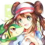 1girl :d bangs blue_sleeves border brown_eyes brown_hair c: closed_mouth double_bun floating_hair gen_5_pokemon green_eyes hair_between_eyes highres long_hair long_sleeves open_mouth poke_ball_print pokemon pokemon_(creature) pokemon_(game) pokemon_bw2 print_shirt rosa_(pokemon) shiny shiny_hair shirt smile snivy solo starter_pokemon upper_body very_long_hair visor_cap white_border white_shirt yomogi_(black-elf)