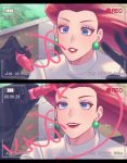 1girl absurdres battery_indicator black_gloves blue_eyes commentary_request dated earrings eyelashes gi_xxy gloves highres holding holding_pen jessie_(pokemon) jewelry lipstick long_hair looking_up makeup number open_mouth pen pokemon pokemon_(anime) recording red_lips redhead team_rocket teeth viewfinder writing