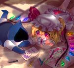 1girl blonde_hair crayon deltarune drawing flandre_scarlet frilled_skirt frills gloves hat jackybunny lancer_(deltarune) lying mob_cap on_stomach ralsei red_eyes red_skirt short_hair skirt susie_(deltarune) touhou white_skin wings wrist_cuffs
