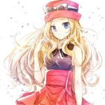 1girl black_shirt blonde_hair blue_eyes eyewear_on_headwear floating_hair hat highres long_hair looking_at_viewer miniskirt pink_headwear pleated_skirt pokemon pokemon_(game) pokemon_xy red_headwear red_skirt serena_(pokemon) shiny shiny_hair shirt skirt sleeveless sleeveless_shirt solo standing sunglasses very_long_hair white-framed_eyewear white_background yomogi_(black-elf)