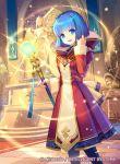 1girl blue_eyes blue_hair dress fire_emblem_cipher fire_emblem_gaiden konfuzikokon official_art open_mouth silque_(fire_emblem) solo sparkle staff statue thigh-highs