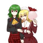 2girls artist_request ascot black_shirt blonde_hair bow collared_shirt cotton_candy cowboy_shot dress elly eyebrows_visible_through_hair frilled_neckwear green_hair hat hat_bow highres juliet_sleeves kazami_yuuka kazami_yuuka_(pc-98) long_sleeves multiple_girls pants plaid plaid_pants puffy_sleeves red_bow red_dress red_eyes red_pants sailor_collar shirt short_hair simple_background touhou touhou_(pc-98) white_background yellow_eyes yellow_neckwear