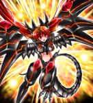 1girl :d breastplate breasts bunji commentary dragon dragon_girl dragon_tail dragon_wings duel_monster flying long_hair looking_at_viewer mecha_musume mechanical_wings monster_girl open_mouth orange_hair personification red-eyes_darkness_metal_dragon red_eyes smile solo tail v-shaped_eyebrows very_long_hair wings wyvern yuu-gi-ou