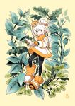 1girl alien black_legwear blue_eyes blush dress full_body gloves hair_bun highres index_finger_raised kenron_toqueen leaf long_sleeves orange_gloves original outline plant puffy_long_sleeves puffy_sleeves shoes solo space_helmet spacesuit white_hair white_outline yellow_background