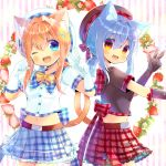 2girls :d ;d animal_ear_fluff animal_ears bangs beret black_gloves black_headwear black_shirt blue_eyes blue_hair blue_skirt blush borrowed_character bow breasts brown_hair cat_ears cat_girl cat_tail collared_shirt commentary_request elbow_gloves eyebrows_visible_through_hair fang flower food frilled_shirt_collar frills fruit gloves hair_between_eyes hair_ornament hairclip hand_up hands_up hat kouu_hiyoyo long_hair looking_at_viewer low_ponytail multiple_girls one_eye_closed open_mouth original plaid plaid_bow plaid_skirt pleated_skirt ponytail purple_bow red_bow red_eyes red_skirt shirt short_sleeves sidelocks skirt small_breasts smile star_(symbol) star_hair_ornament strawberry striped striped_background tail tail_raised vertical_stripes w white_bow white_flower white_gloves white_headwear white_shirt yellow_bow