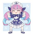 1girl :d ^_^ ahoge anchor_print anchor_symbol ankle_cuffs bangs blue_dress blue_footwear blue_hair blue_neckwear blue_ribbon blunt_bangs blush_stickers bow bowtie braid chibi closed_eyes colored_inner_hair commentary double_v dress dress_bow drill_hair english_commentary flower french_braid frilled_dress frills hair_ribbon hololive kukie-nyan long_hair maid maid_headdress minato_aqua multicolored_hair open_mouth puffy_short_sleeves puffy_sleeves purple_hair ribbon short_dress short_sleeves sidelocks smile solo streaked_hair twin_braids twin_drills twintails twitter_username two-tone_hair v very_long_hair virtual_youtuber wrist_cuffs