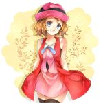 1girl :d black_legwear blue_eyes blue_ribbon brown_hair collarbone cowboy_shot highres looking_at_viewer miniskirt open_mouth pink_headwear pink_shirt pink_skirt pokemon pokemon_(anime) pokemon_xy_(anime) ribbon serena_(pokemon) shirt short_hair skirt sleeveless sleeveless_shirt smile solo standing thigh-highs yellow_background yomogi_(black-elf) zettai_ryouiki