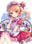1girl apron bangs between_legs blonde_hair blurry blurry_background blush bow closed_mouth commentary_request crystal depth_of_field diagonal_stripes dress eyebrows_visible_through_hair flandre_scarlet frilled_apron frilled_dress frills hand_between_legs hand_up hat hat_ribbon mob_cap one_side_up pjrmhm_coa puffy_short_sleeves puffy_sleeves red_dress red_eyes red_ribbon ribbon short_sleeves smile solo striped striped_bow touhou white_apron white_headwear wings wrist_cuffs yellow_bow