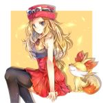 1girl black_legwear blonde_hair blue_eyes border breasts closed_eyes closed_mouth eyewear_on_headwear fang fang_out fennekin from_side gen_6_pokemon grey_shirt hat high-waist_skirt highres invisible_chair long_hair looking_back low-tied_long_hair medium_breasts miniskirt outside_border pleated_skirt pokemon pokemon_(creature) pokemon_(game) pokemon_xy red_headwear red_skirt serena_(pokemon) shiny shiny_hair shirt sitting skirt sleeveless sleeveless_shirt smile solo starter_pokemon sunglasses thigh-highs very_long_hair white-framed_eyewear white_border yellow_background yomogi_(black-elf) zettai_ryouiki