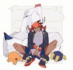 1boy aqua_eyes closed_mouth commentary_request duraludon dynamax_band flying_sweatdrops gen_3_pokemon gen_5_pokemon gen_6_pokemon gen_8_pokemon goomy holding holding_pokemon knees long_sleeves pokemon pokemon_(creature) pokemon_(game) pokemon_swsh raihan_(pokemon) roggenrola shigetake_(buroira) shoes shorts spread_legs sweatdrop translation_request trapinch zzz