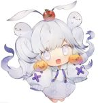 1girl apple blush chibi commentary eyebrows_visible_through_hair food fruit full_body ghost himehi holding jack-o'-lantern long_hair looking_at_viewer open_mouth original pumpkin simple_background smile solo sweater symbol_commentary tears very_long_sleeves white_background white_eyes white_hair