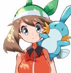 1girl aqua_eyes bangs bare_arms breasts brown_hair closed_mouth commentary_request expressionless eyebrows_visible_through_hair gen_3_pokemon green_bandana hyou_(hyouga617) looking_at_viewer may_(pokemon) mudkip on_shoulder pokemon pokemon_(creature) pokemon_(game) pokemon_emerald pokemon_on_shoulder pokemon_rse sleeveless upper_body white_background