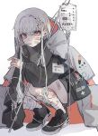 1girl badge bandages bandaid commentary first_aid_kit grey_hair grey_jacket hair_ornament hairclip highres intravenous_drip jacket long_sleeves open_clothes open_jacket original red_eyes shoes skirt sneakers squatting thermometer white_background yuduhi