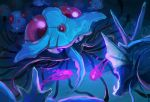 commentary_request fangs gen_1_pokemon glowing gyarados looking_at_another nagakura_(seven_walkers) no_humans open_mouth poison pokemon pokemon_(creature) shiny tentacles tentacool tentacruel