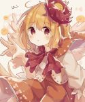 animal animal_on_head bird bird_on_head bird_wings blonde_hair blush chick chicken dress eyebrows_visible_through_hair feathered_wings highres mina_(sio0616) multicolored_hair niwatari_kutaka on_head orange_dress puffy_short_sleeves puffy_sleeves red_eyes red_neckwear red_ribbon ribbon short_hair short_sleeves simple_background touhou two-tone_hair wings yellow_wings