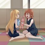 2girls :d ^_^ bangs bare_arms bare_legs bare_shoulders barefoot black_dress blonde_hair blush brown_hair closed_eyes commentary_request dolly_(to_aru_kagaku_no_railgun) dress facing_another hair_between_eyes highres indoors kuro-kinoko-obake long_hair looking_at_another multiple_girls open_mouth shokuhou_misaki short_dress short_hair sitting sleeveless sleeveless_dress smile stuffed_animal stuffed_bird stuffed_bunny stuffed_toy to_aru_kagaku_no_railgun to_aru_majutsu_no_index wariza younger