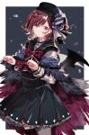 1girl absurdres alternate_costume bat_wings beret black_nails black_skirt bow brown_hair chain commentary_request frilled_skirt frills gocoli hair_ornament hairclip halloween_costume hat highres higuchi_madoka idolmaster idolmaster_shiny_colors long_sleeves looking_at_viewer mismatched_legwear mole mole_under_eye plaid plaid_bow pleated_skirt short_hair skirt solo violet_eyes wings