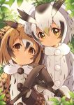 2girls bird_girl bird_wings black_gloves blonde_hair brown_coat brown_hair coat eurasian_eagle_owl_(kemono_friends) fur_collar gloves grey_coat grey_hair hair_between_eyes head_wings kemono_friends kemono_friends_3 long_sleeves multiple_girls namori northern_white-faced_owl_(kemono_friends) official_art owl_ears pickaxe short_hair white_background wings winter_clothes