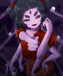 1girl absurdres black_hair cup dress extra_arms extra_eyes fangs hand_on_hip highres insect_girl kim_milk looking_at_viewer monster_girl muffet pouring purple_background purple_skin red_dress short_hair silk smile solo spider_girl spider_web teacup thumbs_up two_side_up undertale upper_body violet_eyes