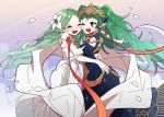 2girls braid closed_eyes dress fire_emblem fire_emblem:_three_houses flower friedbirdchips green_eyes green_hair hair_flower hair_ornament long_hair multiple_girls one_eye_closed open_mouth petals pointy_ears rhea_(fire_emblem) ribbon_braid sothis_(fire_emblem) twin_braids white_dress