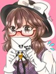 1girl blush brown_hair envelope fedora glasses hat kuronon nervous panda sweatdrop touhou unmoving_pattern usami_sumireko
