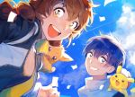 1boy 1girl 43_pon blue_eyes blue_hair blue_sky brown_hair clouds commentary confetti eevee gen_1_pokemon gotcha! gotcha!_boy_(pokemon) gotcha!_girl_(pokemon) hat highres jacket long_hair on_shoulder open_mouth pikachu pokemon pokemon_(creature) pokemon_on_shoulder sky smile tied_hair twintails