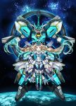 1girl absurdres aqua_eyes blonde_hair cosplay eve_(gundam_build_divers_re:rise) floating floating_hair greatwhite1122 green_eyes gundam gundam_build_divers gundam_build_divers_re:rise highres huge_filesize looking_at_viewer mecha mecha_musume nepteight_gundam nepteight_gundam_(cosplay) open_hands open_mouth revision space twintails v-fin