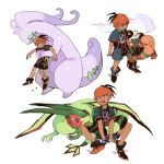 1boy black_hair collared_shirt commentary_request fang flygon gen_3_pokemon gen_6_pokemon goodra gym_leader hug hug_from_behind knees looking_to_the_side multiple_views newo_(shinra-p) open_mouth orange_headwear pokemon pokemon_(creature) pokemon_(game) pokemon_swsh raihan_(pokemon) shirt short_sleeves shorts side_slit side_slit_shorts slime smile tongue torkoal white_background